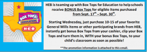 heb and box tops promo